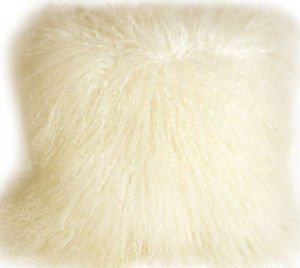 PIllow Decor - Genuine Mongolian Tibetan Lambs Wool Natural White Pillow