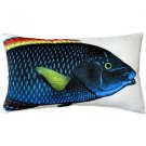 Pillow Decor - Blue Wrasse Fish Pillow 12x20  - SKU: PD2-0006-01-92
