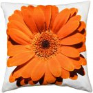 Pillow Decor - Bold Daisy Flower Orange Throw Pillow 20X20