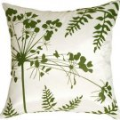 Pillow Decor - White with Green Spring Flower and Ferns 16x16 Pillow