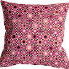 Pillow Decor - Houndstooth Spheres 18x18 Pink Throw Pillow
