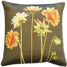 Pillow Decor - Yellow Dahlias Square Tapestry Throw Pillow