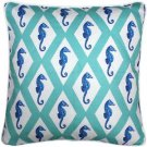 Pillow Decor - Capri Turquoise Argyle Seahorse Throw Pillow 20x20