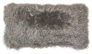 Pillow Decor - Mongolian Sheepskin Gray Rectangular Pillow