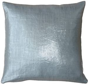 Pillow Decor - Tuscany Linen Silver Metallic 16x16 Throw Pillow