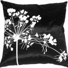 Pillow Decor - Black with White Spring Flower Throw Pillow