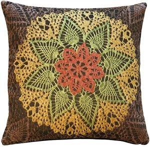 Pillow Decor - Crochet Flower 19x19 Tapestry Pillow - SKU: AB1-5276-01-20