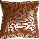 Pillow Decor - Metallic Floral Burnt Orange Square Throw Pillow