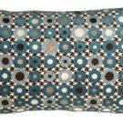 Pillow Decor - Houndstooth Spheres 12x20 Blue Throw Pillow