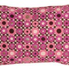 Pillow Decor - Houndstooth Spheres 12x20 Pink Throw Pillow