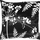 Pillow Decor - Black with White Spring Flower and Ferns Pillow