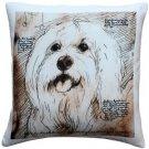 Pillow Decor - Mischievous Maltese 17x17 Dog Pillow  - SKU: LE1-0026-01-17