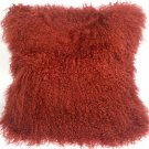 PIllow Decor - Genuine Mongolian Tibetan Sheepskin Lamb Wool Red Throw Pillow