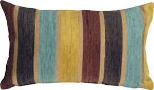 Pillow Decor - Savannah Stripes 12x20 Yellow Blue Chenille Throw Pillow