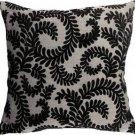 Pillow Decor - Brackendale Ferns Black Throw Pillow  - SKU: SD1-0001-05-22
