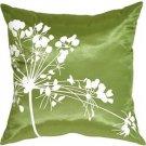 Pillow Decor - Green with White Spring Flower Throw Pillow
