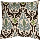 Pillow Decor - Linen Damask Print Blue Brown 16x16 Throw Pillow