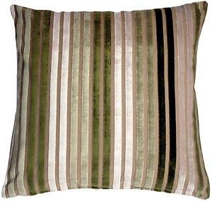 Pillow Decor - Velvet Multi Stripes Green 20x20 Throw Pillow