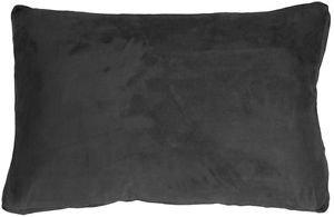 Pillow Decor - 14x22 Box Edge Royal Suede Black Throw Pillow