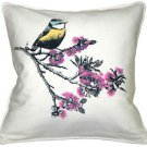 Pillow Decor - Bird on Cherry Blossom Branch 16x16 Throw Pillow