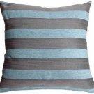 Pillow Decor - Brackendale Stripes Sea Blue Throw Pillow  - SKU: SD1-0002-02-22