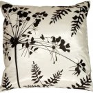 Pillow Decor - White with Black Spring Flower and Ferns 16x16 Pillow