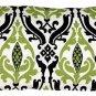 Pillow Decor - Linen Damask Print Green Black 12x20 Throw Pillow
