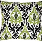 Pillow Decor - Linen Damask Print Green Black 18x18 Throw Pillow