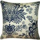 Pillow Decor - Rustic Floral Blue 20x20 Throw Pillow  - SKU: VC1-0003-02-20