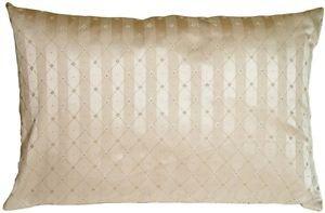 Pillow Decor - Manhattan Stripes in Beige Rectangular Throw Pillow
