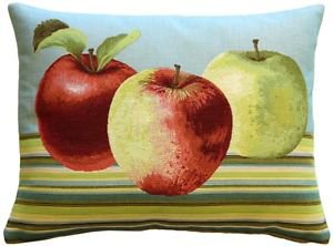 Pillow Decor - Fresh Apples on Blue Rectangular Pillow - SKU: AB1-5299-02-94