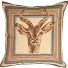 Pillow Decor - Blue Antelope Tapestry Throw Pillow - SKU: AB1-8434-00-19
