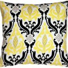 Pillow Decor - Linen Damask Print Yellow Black 18x18 Throw Pillow