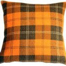 Pillow Decor - Contemporary Plaid Orange 20x20 Throw Pillow