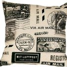 Pillow Decor - Vintage Postage Stamp Gray 18x18 Throw Pillow