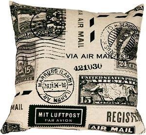 Pillow Decor - Vintage Postage Stamp Gray 18x18 Throw Pillow