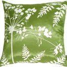 Pillow Decor - Green with White Spring Flower and Ferns 20x20 Pillow