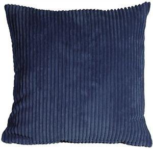 Pillow Decor - Wide Wale Corduroy Dark Blue 18x18 Throw Pillow