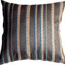 Pillow Decor - Glitter Stripes 20x20 Blue and Gray Throw Pillow