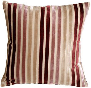 Pillow Decor - Velvet Multi Stripes Mauve 16x16 Throw Pillow