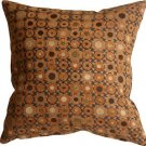 Pillow Decor - Houndstooth Spheres 18x18 Orange Throw Pillow