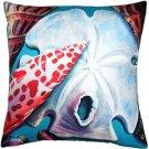Pillow Decor - Newport Beach Arrowhead and Miter Shell Mix Throw Pillow 20x20