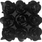 Pillow Decor - Felt Flowers in Black 17x17 Throw Pillow  - SKU: HD1-0001-02-17