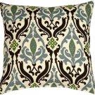 Pillow Decor - Linen Damask Print Blue Brown 18x18 Throw Pillow