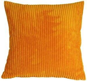 Pillow Decor - Wide Wale Corduroy Light Orange 18x18 Throw Pillow