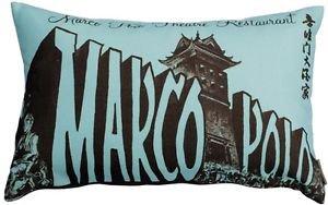 Pillow Decor - Marco Polo Theatre Restaurant 12x20 Blue Throw Pillow
