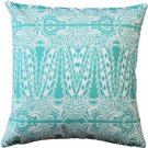 Pillow Decor - Partridge Stamp Turquoise Throw Pillow 20x20