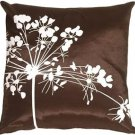 Pillow Decor - Brown with White Spring Flower Throw Pillow