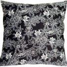 Pillow Decor - Delicate Floral on Black 20x20 Accent Pillow