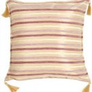 Pillow Decor - Chenille Stripes in Mauve and Cream Throw Pillow